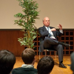 Karl Rove speaks in Call Auditorium on April 13, 2011.